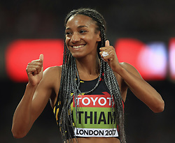 Belgium's Nafissatou Thiam celebrates winning the women's heptathlon during day three of the 2017 IAAF World Championships at the London Stadium.