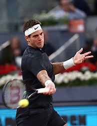 May 8, 2018 - Madrid, Spain - Juan Martin Del Potro of Argentina returns the ball to Damir Džumhur of Bosnia in the 2nd Round match during day four of the Mutua Madrid Open tennis tournament at the Caja Magica. (Credit Image: © Manu Reino/SOPA Images via ZUMA Wire)
