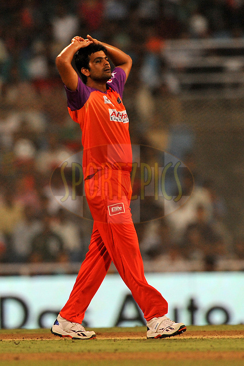 RP Singh of Kochi Tuskers Kerala reacts after a close call during  match 10 of the Indian Premier League ( IPL ) Season 4 between the Pune Warriors and the Kochi Tuskers Kerala held at the Dr DY Patil Sports Academy, Mumbai India on the 12th April 2011..Photo by Pal Pillai /BCCI/SPORTZPICS