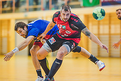 29.09.2018, Sporthalle Leoben-Donawitz, Leoben, AUT, HLA, Union JURI Leoben vs Sparkasse Schwaz HANDBALL TIROL, im Bild Marko Tanaskovic (Union JURI Leoben), Alexander Pyshkin (Sparkasse Schwaz HANDBALL TIROL) // during the Handball League Austria, match between Union JURI Leoben vs Sparkasse Schwaz HANDBALL TIROL at the sport Hall, Leoben, Austria, 2018/09/29, EXPA Pictures © 2018, PhotoCredit: EXPA/ Dominik Angerer