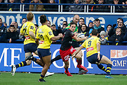 Michael Harris to LOU, Morgan Parra to ASM, Charly Trussardi to ASM, Nick Abendanon to ASM during the French championship Top 14 Rugby Union match between ASM Clermont and Lyon OU on November 18, 2017 at Marcel Michelin stadium in Clermont-Ferrand, France - Photo Romain Biard / Isports / ProSportsImages / DPPI