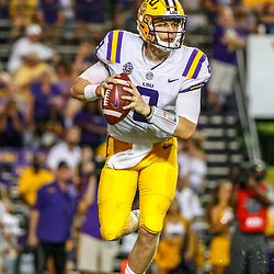 Sep 8, 2018; Baton Rouge, LA, USA; LSU Tigers quarterback Joe Burrow (9) against the Southeastern Louisiana Lions during the second half of a game at Tiger Stadium. LSU defeated Southeastern 31-0. Mandatory Credit: Derick E. Hingle-USA TODAY Sports