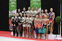 July 28, 2018 - Chieti, Abruzzo, Italy - Team competition podium of the Rhythmic Gymnastics pre World Championship Italy-Ukraine-Germany at Palatricalle on 29th of July 2018 in Chieti Italy. (Credit Image: © Franco Romano/NurPhoto via ZUMA Press)