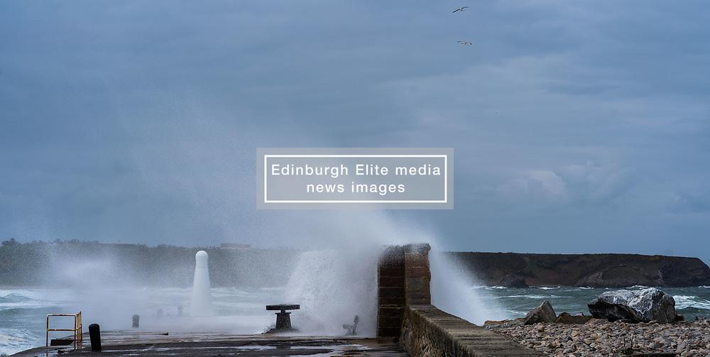 Huge waves crash over the harbour walls in Cullen, Morayshire (c) Ross Eaglesham| Edinburgh Elite media