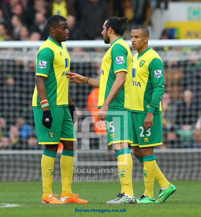 Picture by Paul Chesterton/Focus Images Ltd +44 7904 640267<br /> 18/01/2014<br /> Sebastien Bassong of Norwich , Jonas Gutierrez of Norwich and Martin Olssen of Norwich discuss matters during the Barclays Premier League match at Carrow Road, Norwich.