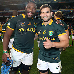 CAPE TOWN, SOUTH AFRICA - SEPTEMBER 27: Tendai Mtawarira of South Africa with Cobus Reinach of South Africa during The Castle Rugby Championship match between South Africa and Australia at DHL Newlands on September 27, 2014 in Cape Town, South Africa. (Photo by Steve Haag)