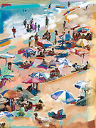 Colorful beach umbrellas make a lively montage with all of the sun worshippers at Prainha, near Rio de Janiero, Brazil.