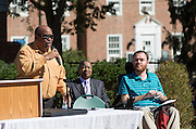 J.W. Smith, an associate professor in Ohio University's School of Communication Studies, left, sings America the Beautiful while Ohio University President Roderick McDavis, center, and David McNelly, a member of the Athens County Board of Developmental Disorders, right, listen at the beginning of the ADA25 kickoff event on October 6, 2015 at Howard Park on Ohio University. Photo by Emily Matthews