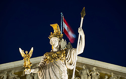 THEMENBILD - Oesterreichisches Parlament waehrend der Blauen Stunde. Das Bild wurde am 11. April 2013 aufgenommen. im Bild Statue Pallas Athene // THEME IMAGE FEATURE - Austrian Parliament at Twilight Hour. The image was taken on april, 11th, 2013. Picture shows Statue Pallas Athene, AUT, EXPA Pictures © 2013, PhotoCredit: EXPA/ Michael Gruber