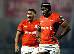 Maro Itoje of Saracens and Mako Vunipola of Saracens - Mandatory by-line: Robbie Stephenson/JMP - 18/12/2016 - RUGBY - AJ Bell Stadium - Sale, England - Sale Sharks v Saracens - European Champions Cup