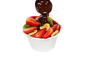 Fruit salad with chocolate sauce
