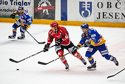 #91 Tadej Cimzar of Jesenice during ice hockey match between HK SIJ Acroni Jesenice and Asiago Hockey in Round #3 of Alps Hockey League 2018/19 , on September 22, 2018 in Podmezakla hall , Jesenice, Slovenia. Photo by Urban Meglic / Sportida