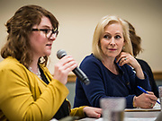 "24 MAY 2019 - WEST DES MOINES, IOWA: US Senator KIRSTEN GILLIBRAND (D-NY), right, chairs a community forum in the West Des Moines Public Library. Gillibrand unveiled her ""Family Bill of Rights"" during a forum in West Des Moines. The New York Senator has made family health and rights a centerpiece of her campaign. She is touring Iowa this week to support her candidacy to be the Democratic nominee for the US Presidency. Iowa traditionally hosts the the first selection event of the presidential election cycle. The Iowa Caucuses will be on Feb. 3, 2020.           PHOTO BY JACK KURTZ"
