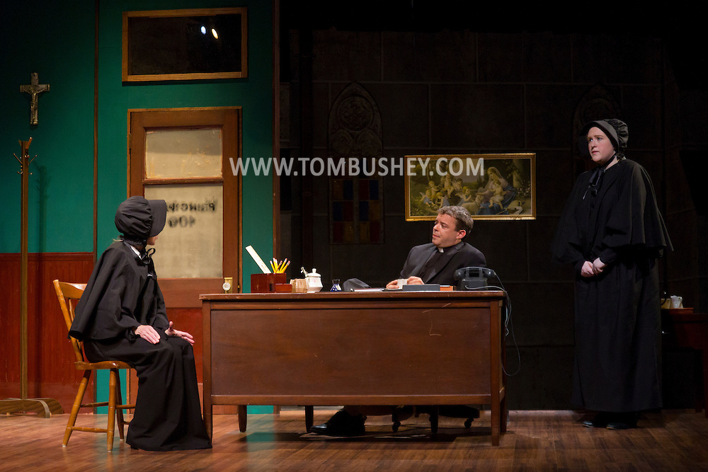 """Middletown, New York - Actors from the SummerStar Theatre at SUNY Orange perform in a production of """"Doubt: a Parable"""" at Orange Hall Theatre on June 26, 2014."""