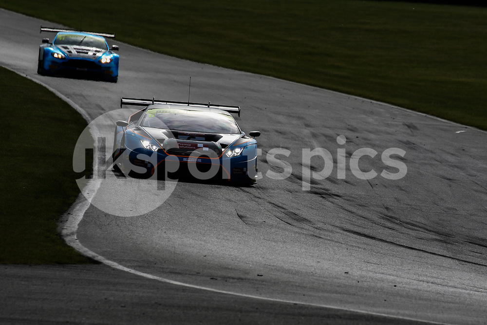 Barwell Motorsport Lamborghini Huracan GT3 with drivers Liam Griffin & Sam Tordoff leads TF Sport Aston Martin Vantage GT3 with drivers Mark Farmer & Jon Barnes during the British GT And BRDC British F3 Championships at the Snetterton Circuit, Norwich, England on 28 May 2017. Photo by Jurek Biegus.