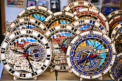 Prague, Czech Republic:  The streets of Old Town are lined with souvenir shops and stands selling everything from fine glassware and gold jewelry to marionettes (puppets).  Shown are modern interpretations of Prague's famed Astronomical clock.
