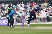 Lancashires James Anderson  during the Royal London 1 Day Cup match between Lancashire County Cricket Club and Worcestershire County Cricket Club at the Emirates, Old Trafford, Manchester, United Kingdom on 17 April 2019.
