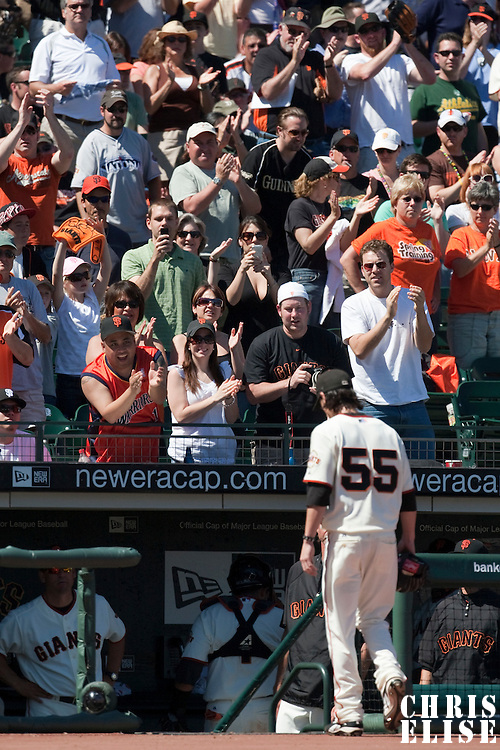 18 April 2009: San Francisco Giants' starter Tim Lincecum walks back to the dugout as the fan cheer during the San Francisco Giants' 2-0 loss to the Arizona Diamondbacks at AT&T Park in San Francisco, CA.