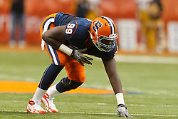 Oct 21, 2011; Syracuse NY, USA;  Syracuse Orange defensive end Chandler Jones (99) lines up for a play against the West Virginia Mountaineers during the fourth quarter at the Carrier Dome.  Syracuse defeated West Virginia 49-23. Mandatory Credit: Jason O. Watson-US PRESSWIRE