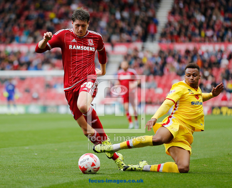 Adam Reach (l) of Middlesbrough and Josh Murphy of Milton Keynes Dons during the Sky Bet Championship match at the Riverside Stadium, Middlesbrough<br /> Picture by Simon Moore/Focus Images Ltd 07807 671782<br /> 12/09/2015