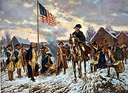 Revolutionary War 1775-1783 (American War of Independence): 'Washington at Valley Forge', Pennsylvania, l December 1777 the site he chose for the winter quarters of the (American) Continental Army. After painting by Edward P Moran (1862-1935).