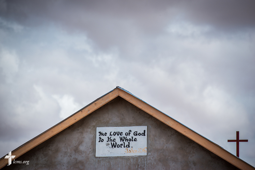A verse from the Holy Gospel of Jesus Christ according to John on the church used by the LCMS Mercy Medical Team on Monday, June 20, 2016, in Nataparkakono, a village in Turkana, Kenya.  LCMS Communications/Erik M. Lunsford