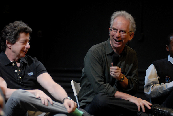 Still Waters in a Storm presents a panel discussion about reading and writing, at The Performing Garage, moderated by The Wooster Group's Kate Valk, with panelists including Russell Banks, Peter Carey,  Peter Hedges, Richard Price...Pictured (left to right) Richard Price, Peter Carey