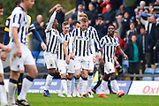 Millwall players celebrate Aiden O'Brien (22) scoring to make it 2-1 to Millwall (1-2), during the EFL Sky Bet League 1 match between Oxford United and Millwall at the Kassam Stadium, Oxford, England on 29 October 2016. Photo by David Charbit.