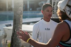 World Sailing Emerging Nations Program - Boca Chica Sailing Club, Santo Domingo 08/19/2017 - DAY 1- Darius Berenos from Curacao listens to his coach speech