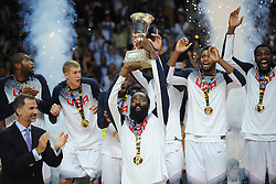 James Harden of USA wit the World Cup trophy after winning during the 2014 FIBA World Basketball Championship Final match between USA and Serbia at the Palacio de los Deportes, on September 14, 2014 in Madrid, Spain. Photo by Tom Luksys  / Sportida.com <br /> ONLY FOR Slovenia, France