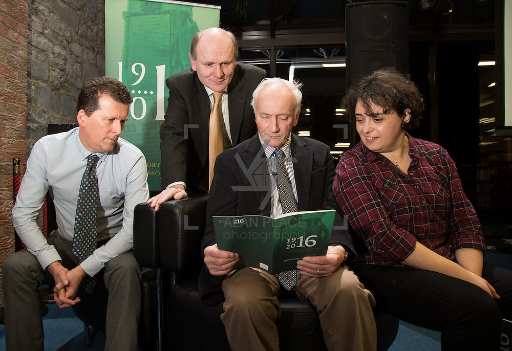 27.01.2016<br /> The Limerick City Library kicked off its series of lectures to mark the centenary of the 1916 Rising with a talk by Tom Toomey, author of the acclaimed 'The War of Independence in Limerick'.<br /> Attending the event were, Tony Storan, Damien Brady, Tom Toomey and . Picture: Alan Place