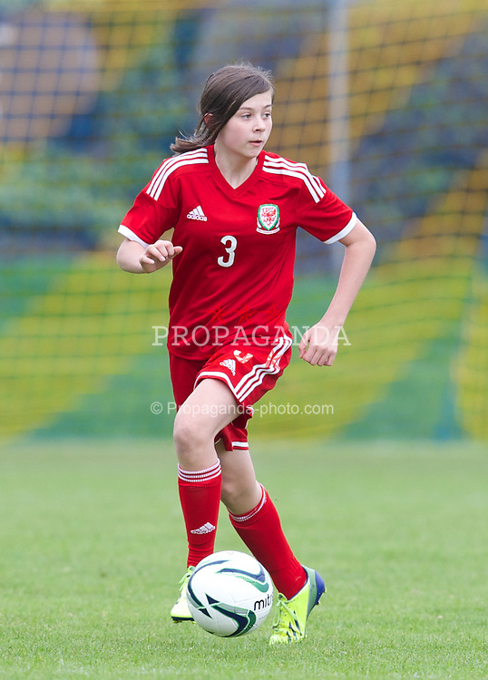 REPTON, ENGLAND - Thursday, April 17, 2014: Wales' Chelsea Cochrane (Fairwater School) in action against Northern Ireland during the final Bob Docherty International Tournament match at Repton School. (Pic by David Rawcliffe/Propaganda)