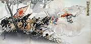 First Sino-Japanese War (1894-1895) for control of Korea, a Chinese tribute state. China defeated by Japan's more modernised forces.  Infantry battle.