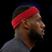 Lebron James, Cleveland Cavaliers, during warm up before playing the New York Knicks. NBA Basketball. Madison Square Garden, New York. USA.  Photo Tim Clayton