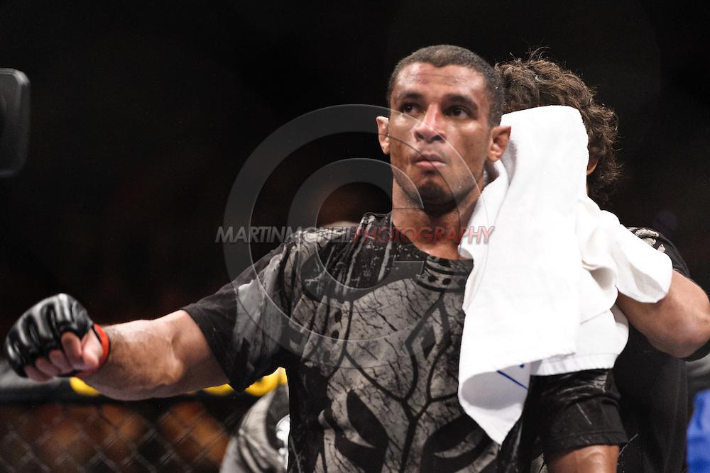 "ATLANTA, GEORGIA, SEPTEMBER 6, 2008: Roan Carneiro awaits the official decision following his fight at ""UFC 88: Breakthrough"" inside Philips Arena in Atlanta, Georgia on September 6, 2008"