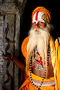 A sadhu at the Pashupatinath Temple on the Bagmati River in Kathmandu, Nepal.