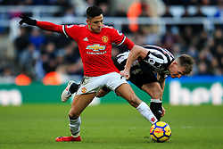 Alexis Sanchez of Manchester United battles with Matt Ritchie of Newcastle United - Mandatory by-line: Matt McNulty/JMP - 11/02/2018 - FOOTBALL - St James Park - Newcastle upon Tyne, England - Newcastle United v Manchester United - Premier League