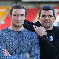 St Johnstone assistant manager Callum Davidson pictured with striker Chris Kane after he had just signed a new 3 year deal to keep him at McDiarmid Park..26.02.15<br /> Picture by Graeme Hart.<br /> Copyright Perthshire Picture Agency<br /> Tel: 01738 623350  Mobile: 07990 594431