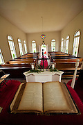 Interior of the Stoney Creek Independent Presbyterian Church, also known as the Stoney Creek Chapel built in 1832 McPhersonville, South Carolina. The austere chapel is built in the Greek Revival style and used featured in the movie Forrest Gump. .