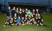 Grove Academy celebrate with the Under 15s senior cup after beating St Johns RC High School 6-1 in the final at Dens Park- Under 15s senior cup final sponsored by Dundee FC Supporters Society<br /> <br /> <br />  - &copy; David Young - www.davidyoungphoto.co.uk - email: davidyoungphoto@gmail.com