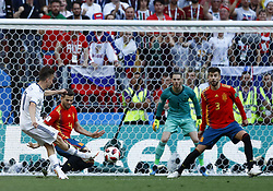 July 1, 2018 - Moscow, Russia - Round of 16 Russia v Spain - FIFA World Cup Russia 2018.Aleksandr Golovin (Russia) kicking at Luzhniki Stadium in Moscow, Russia on July 1, 2018. (Credit Image: © Matteo Ciambelli/NurPhoto via ZUMA Press)