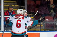 KELOWNA, CANADA - FEBRUARY 8:  Kaedan Korczak #6 and Cayde Augustine #5 of the Kelowna Rockets celebrate a goal against the Prince George Cougars on February 8, 2019 at Prospera Place in Kelowna, British Columbia, Canada.  (Photo by Marissa Baecker/Shoot the Breeze)