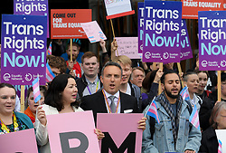 Pictured: MSP's Monica Lennon and Alex Cole Hamilton at the rally.<br /> <br /> Protesters rallied outside the Scottish Parliament to campaign for trans rights ahead of a debate on broadening the questions in the census by MSP's.<br /> <br /> © Dave Johnston / EEm