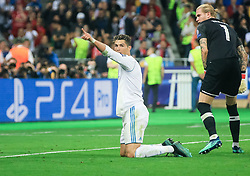 Cristiano Ronaldo of Real Madrid reacts in front of Loris Karius of Liverpool during the UEFA Champions League final football match between Liverpool and Real Madrid at the Olympic Stadium in Kiev, Ukraine on May 26, 2018.Photo by Sandi Fiser / Sportida