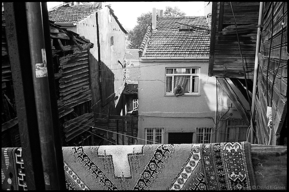 A courtyard of falling wooden houses in Istanbul, Turkey.