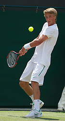 LONDON, ENGLAND - Friday, July 1, 2011: Liam Broady (GBR) in action during the Boys' Singles Semi-Final match on day eleven of the Wimbledon Lawn Tennis Championships at the All England Lawn Tennis and Croquet Club. (Pic by David Rawcliffe/Propaganda)