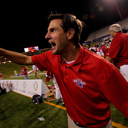 Sep 30, 2009; Ruston, LA, USA;  Louisiana Tech Bulldogs head coach Derek Dooley celebrates after the game against the Hawaii Warriors at Joe Aillet Stadium. Louisiana Tech defeated Hawaii 27-6. Mandatory Credit: Derick E. Hingle-US PRESSWIRE