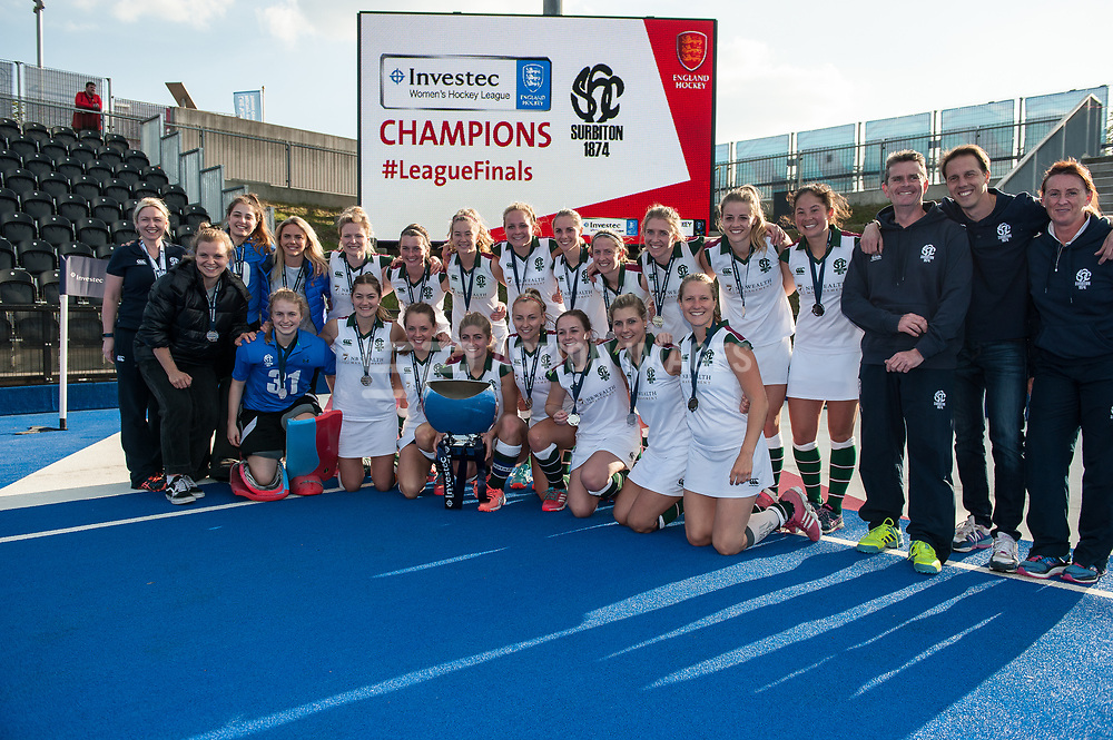 Surbiton and trophy. Holcombe v Surbiton - Investec Women's Hockey League Final, Lee Valley Hockey & Tennis Centre, London, UK on 23 April 2017. Photo: Simon Parker