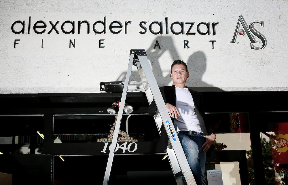 Alexander Salazar stands out front of his Gallery Alexander Salazar Fine Arts on Tuesday, February 10, 2015 in San Diego, CA(Photo by Sandy Huffaker)