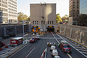The Brooklyn Battery Tunnel, also known as the Hugh L. Carey Tunnel, is still flooded a week after hurricane Sandy hit. Cleanup vehicles, one with a boat on its roof, are outside the Battery entrance.